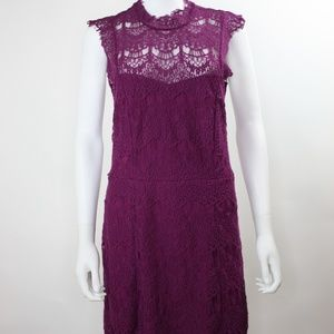 Free People Daydream Bodycon Magenta Lace Dress L